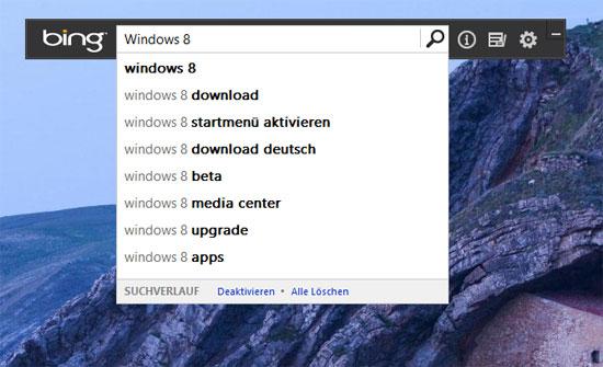 Bing Desktop Suchverlauf